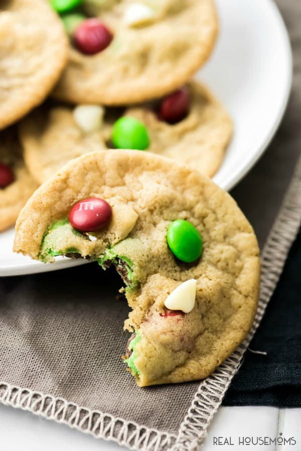 WHITE CHOCOLATE M&M COOKIES are the super simple and delicious recipe my oldest monkey helped me create this Christmas season! It is the perfect Christmas dessert.