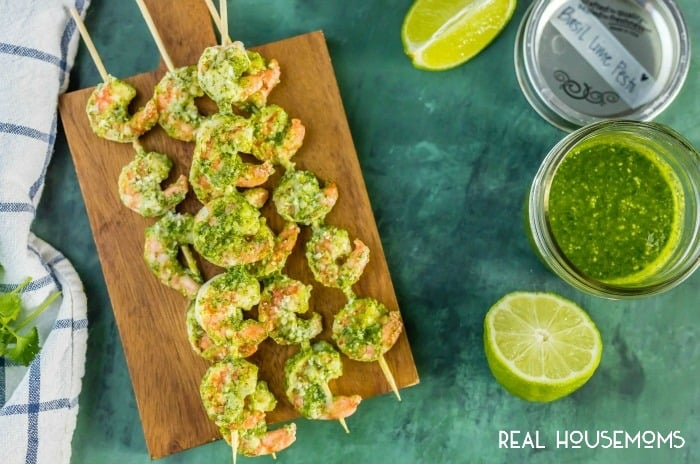 BASIL LIME SHRIMP SKEWERS are the perfect easy appetizer for the holidays!