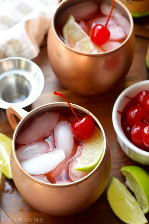 These CHERRY MOSCOW MULES are delicious! Such a fast fun cocktail that your guests will love!