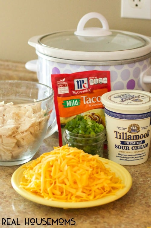 This fun recipe for SLOW COOKER CHICKEN TACO DIP is great to serve at your next party or game day!