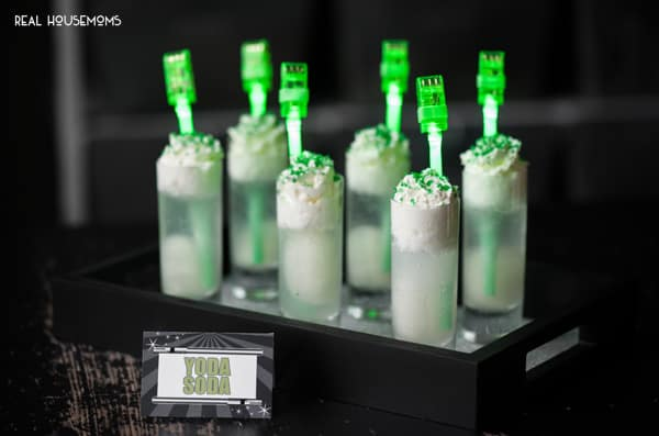 Yoda Soda with light saber straws is an easy to make and delicious drink that is perfect for any Star Wars fan!