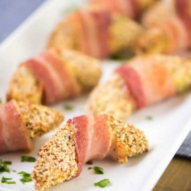 BACON WRAPPED AVOCADO FRIES have to be at your Super Bowl party! It's an easy appetizer and perfect for entertaining!