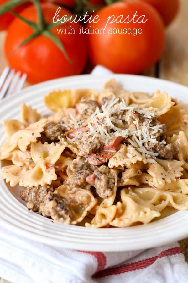 Bowtie Pasta with Italian Sausage - Lil' Luna