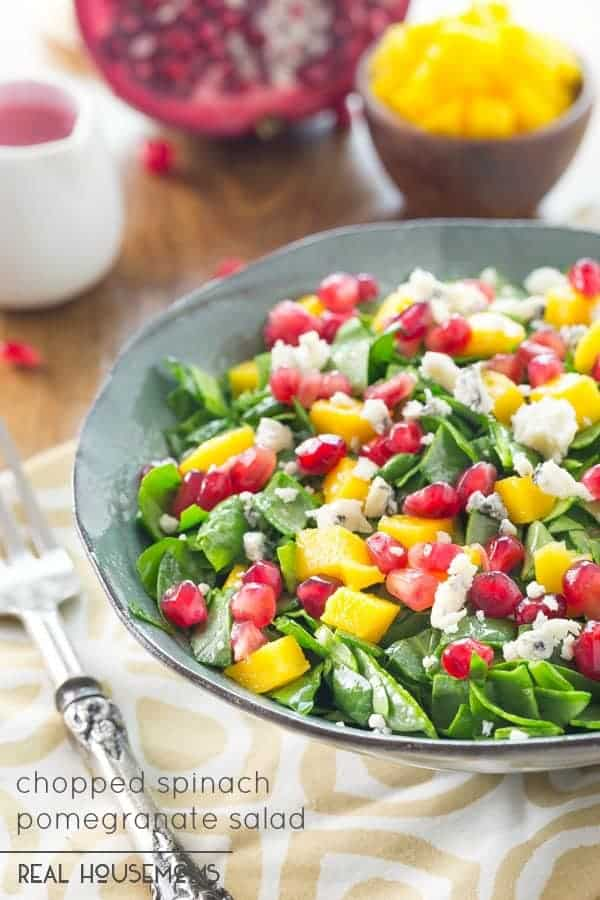 Popeye would gladly toss his can and be all over this tasty CHOPPED SPINACH POMEGRANATE SALAD with a tangy Pomegranate Vinaigrette!