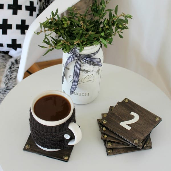 DIY WOODEN COASTERS ARE a quick, easy & super cheap project that could double as a cute homemade gift for someone special!