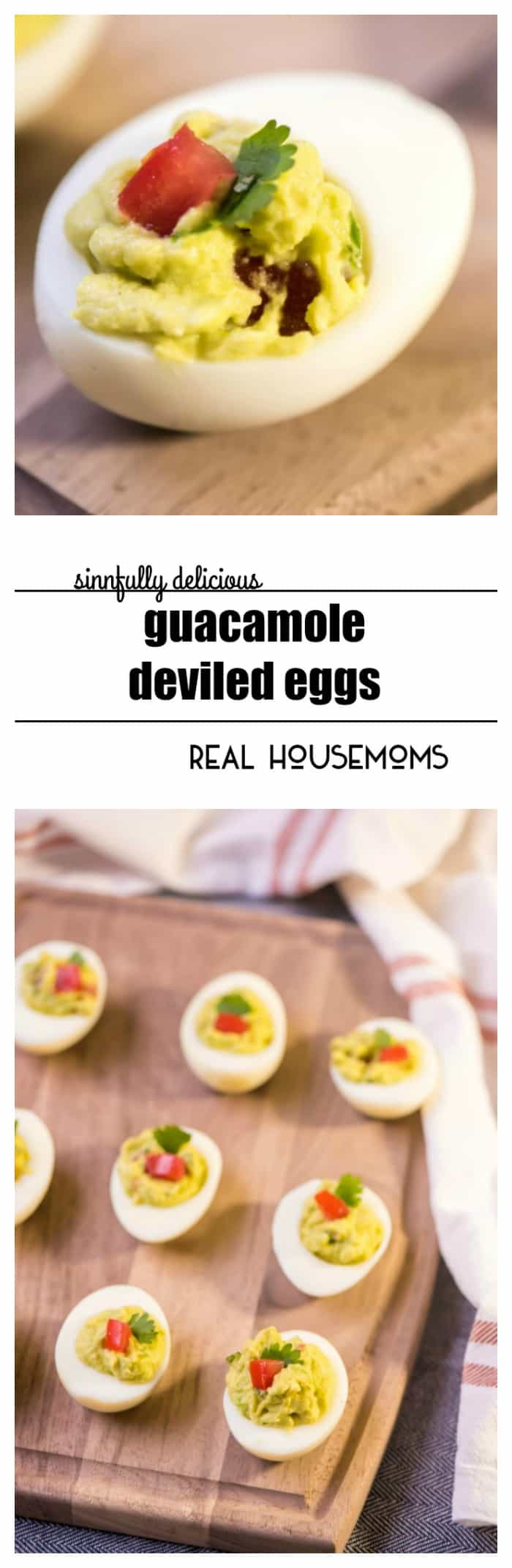 GUACAMOLE DEVILED EGGS are an easy appetizer recipe! Avocado replaces the mayo so they're a lightened up alternative to classic deviled eggs! These are a great Super Bowl recipe!
