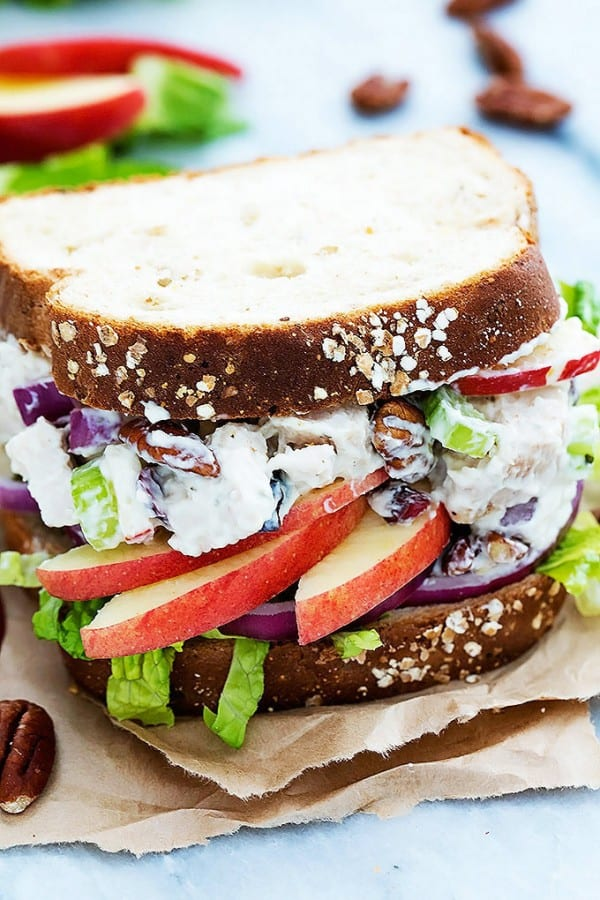 Lighter Apple Pecan Chicken Salad Sandwich - Creme de la Crumb