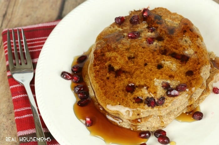 POMEGRANATE WHOLE WHEAT PANCAKES are easy to make and always a crowd pleaser!
