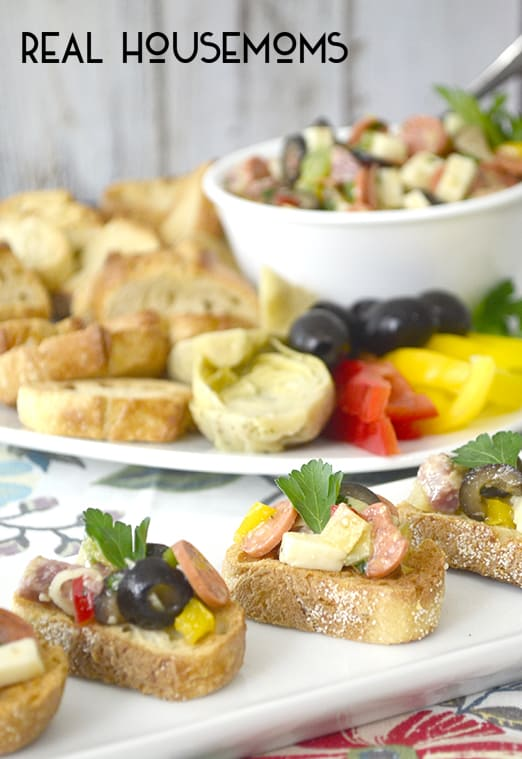 ANTIPASTO BRUSCHETTA is an easy appletizer you can customize to your taste and is always a crowd pleaser!