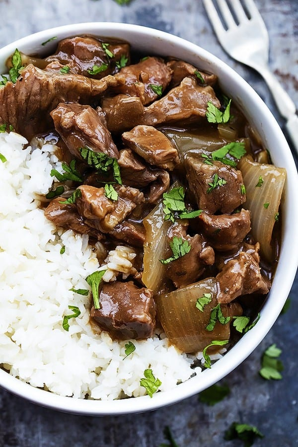 Slow Cooker Beef on Rice - Creme de la Crumb