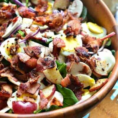 Spinach Salad with Warm Maple Bacon Dressing
