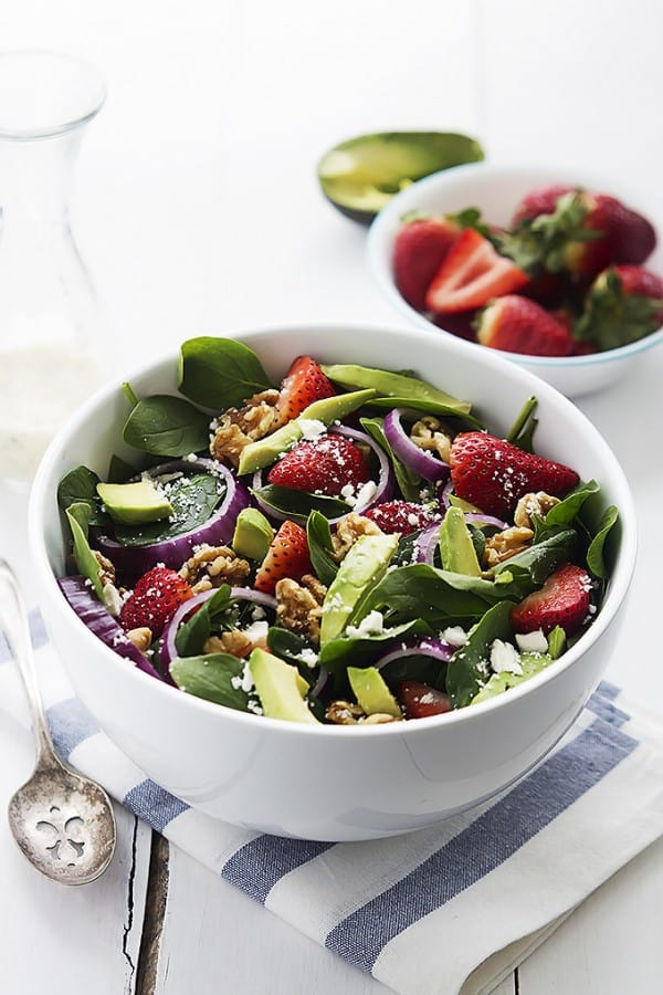 Strawberry Avocado Spinach Salad - Creme de la Crumb
