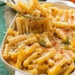 This LIGHTER CHEESY PASTA BAKE is pure comfort food without all of the guilt!