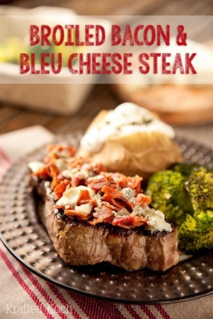 Broiled Bacon & Bleu Cheese Steak