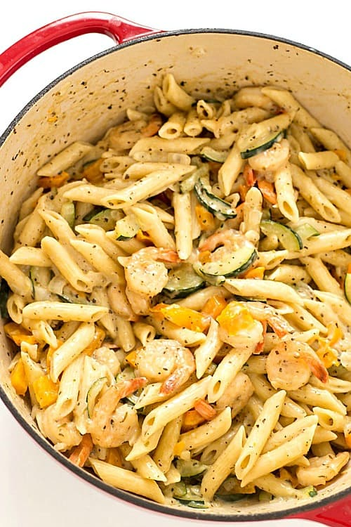 Our CREAMY GREEK SHRIMP PASTA is almost a one pot pasta dish! So creamy and decadent with the most delicious sauce!