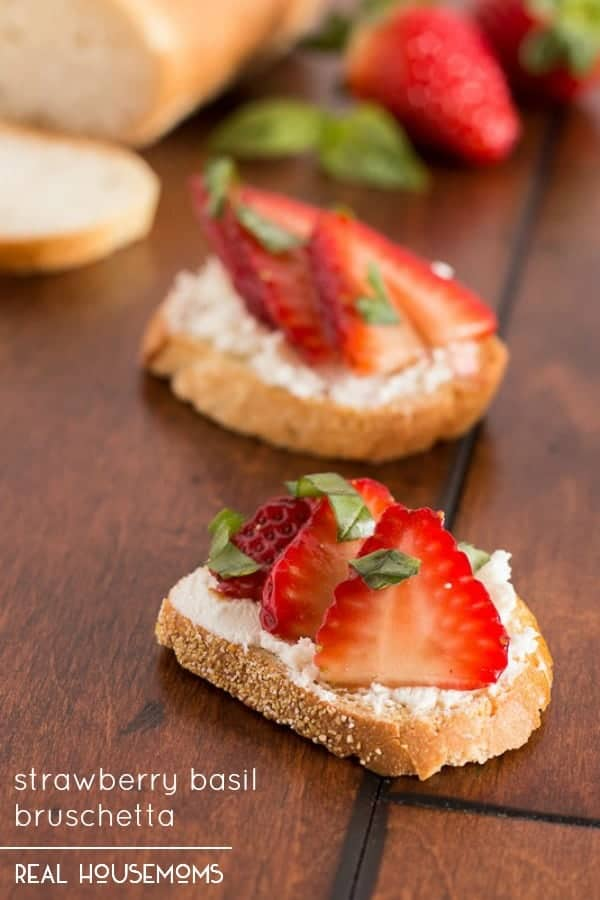 A little balsamic and a sprinkle of fresh basil turns this STRAWBERRY BASIL BRUSCHETTA into the perfect appetizer!