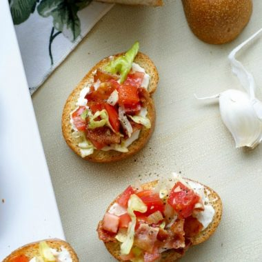 BLT Bruschetta with Goat Cheese Mayo