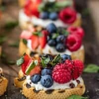 FRUIT GOAT CHEESE BRUSCHETTA is a delicious, easy, and pretty appetizer that's great for any occasion!