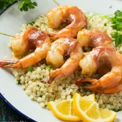Prosciutto Wrapped Shrimp with Lemon Couscous