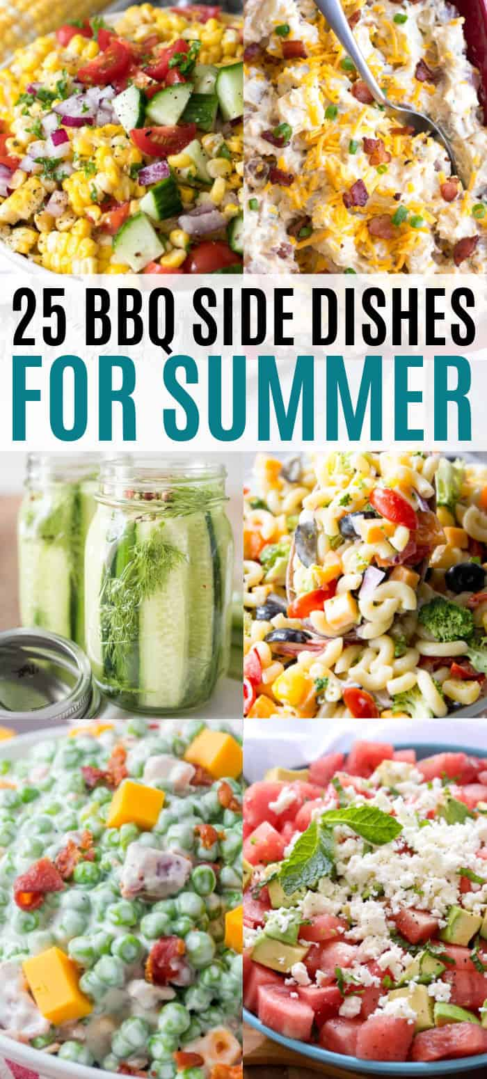 vertical collage of bbq side dish recipes with text