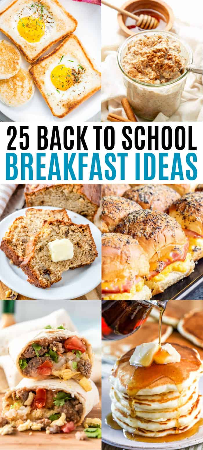 vertical collage of back to school breakfast recipes with text