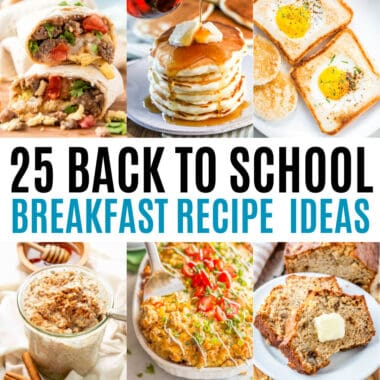 square collage of back to school breakfast recipes with text