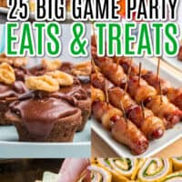 vertical collage of football party foods for the big game with text overlay