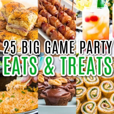square collage of football party foods for the big game with text overlay