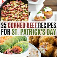 vertical collage of corned beef recipes for st patrick's day
