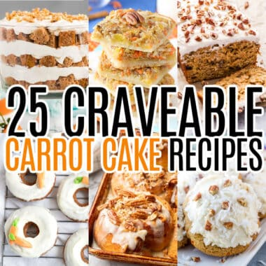 square collage of 6 carrot cake flavored recipes with text overlay