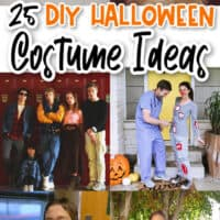 vertical collage of diy halloween costumes & ideas with text