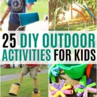vertical collage of outdoor activities for kids