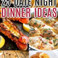 vertical collage of date night dinner recipe with text overlay