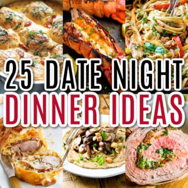 square collage of date night dinner recipe with text overlay