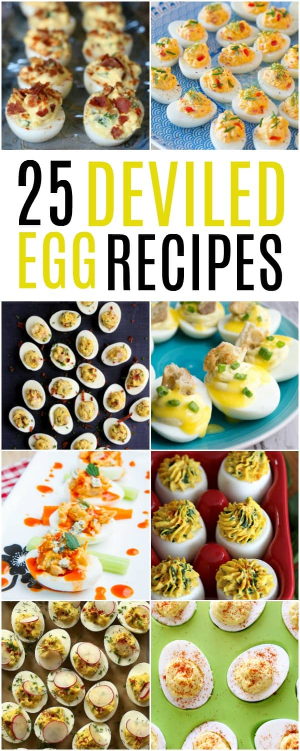 It's just not spring or Easter with deviled eggs finding their way to the table. We've got 25 Deviled Egg Recipes to please every palette in the bunch.  These little bites of eggy happiness will knock your socks off!