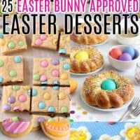 vertical collage of 6 Easter desserts recipes with text overlay