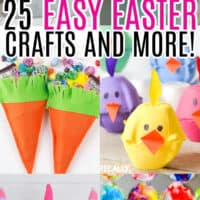 vertical collage of easter craft ideas with text overlay