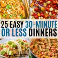vertical collage of 30 minute or less dinners