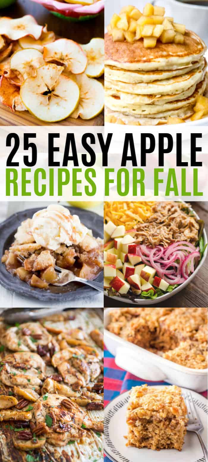 vertical collage of sweet and savory apple recipes with text