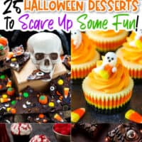vertical collage of Halloween themed desserts