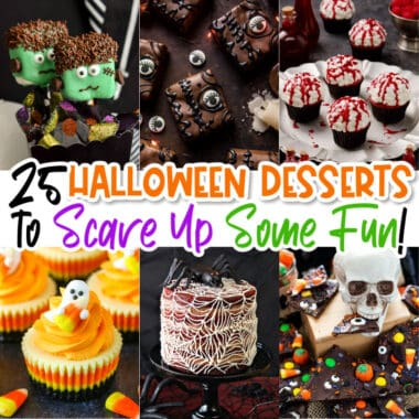 square collage of Halloween themed desserts