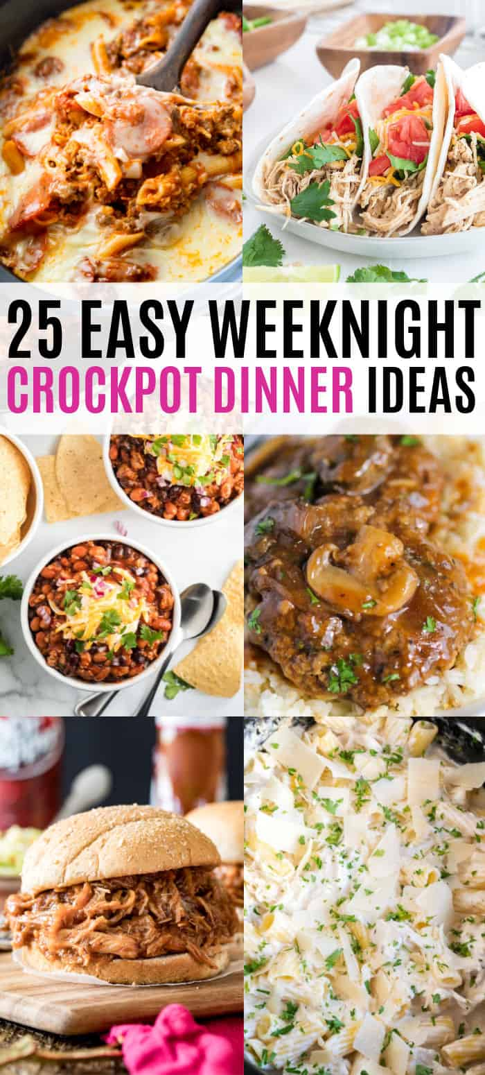 vertical collage of weeknight crock pot dinners with text
