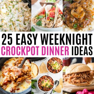 square collage of weeknight crock pot dinners with text