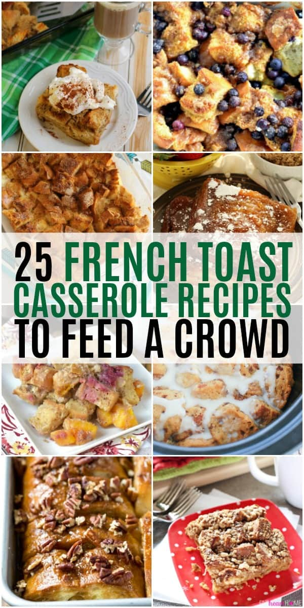vertical collage of french toast casserole recipes with text