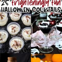 vertical collage of 6 halloween cocktails with text