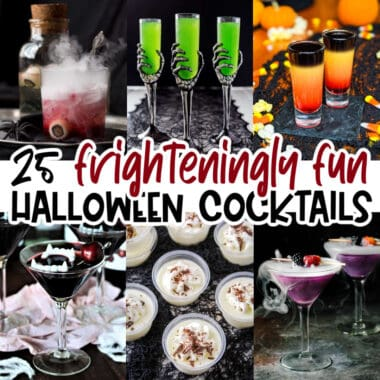 square collage of 6 halloween cocktails with text