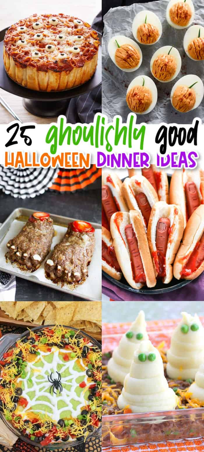 vertical collage of themed halloween dinner ideas