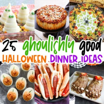 square collage of themed halloween dinner ideas