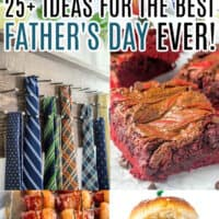 vertical collage of 6 father's day recipes and gift ideas with text overlay