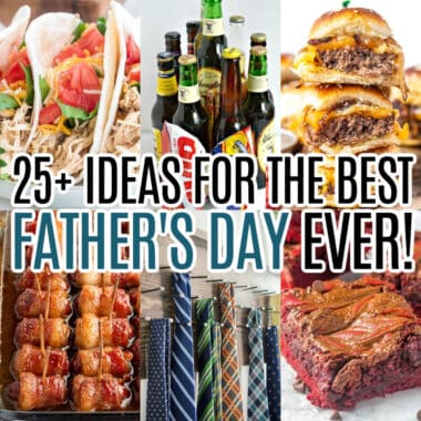 square collage of 6 father's day recipes and gift ideas with text overlay